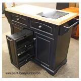 Contemporary Butcher Block Top with Marble Top Insert Cutting Board Kitchen Work Island