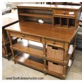 QUALITY SOLID Mahogany Desk with Hutch Top and Storage Baskets