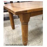 Rustic Country Farm Style Oak Plank Dining Room Table with 6 Windsor Chairs  Table has 2 Leaves – B
