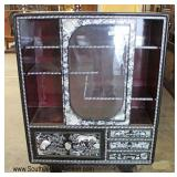NICE Lacquer Mother of Pearl Asian Inspired Sliding Door Curio with Drawers