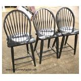 Set of 3 Country Windsor Style Bar Stools