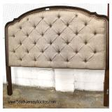 NEW King Size Button Tufted Upholstered Mahogany Frame Headboard