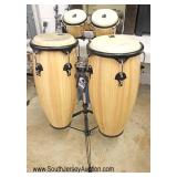 "Set of Like New ""Toca Percussion Company"" Maple Case Bongos"
