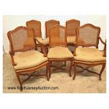 Lot 502 Set of 6 ANTIQUE French dining room cane chairs with custom wooden seat planks to protect t
