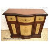 Lot 504 Contemporary mahogany paint decorated 3 drawer 4 door credenza