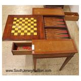 Lot 505 VINTAGE leather top game table with 2 drawers and chess board and backgammon with game piec
