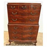 Lot 506 VINTAGE Batesville Furniture burl mahogany and carved chest on chest with fancy hardware