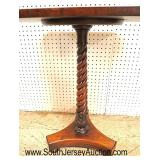Lot 540 Paint decorated carved column SOLID mahogany lamp table
