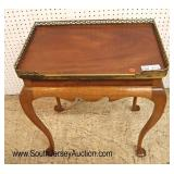 Lot 541 Custom made SOLID mahogany queen anne brass gallery lamp table signed Doug Case and dated 1