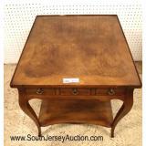 Lot 543 John Widdicomb burl walnut 1 drawer lamp table - small chip on edge of gallery