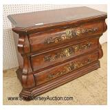Lot 546 Ethan Allen Furniture paint decorated scalloped 3 drawer decorator chest