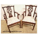 Lot 547 PAIR of SOLID mahogany Maitland Smith Furniture Chippendale style arm chairs