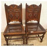 Lot 548 PAIR of ANTIQUE Carved oak cane bottom tavern chairs in the original finish