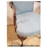 Lot 550 PAIR of SOLID mahogany scroll arm shell carved queen anne upholstered chairs