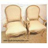 Lot 553 PAIR of Fairfield Furniture upholstered painted frame arm chairs