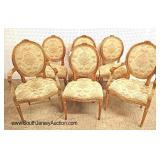 Lot 555 Set of 6 French gilded and carved Italian back dining room chairs with petti point upholste
