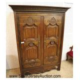 Lot 557 NICE QUALITY country French carved 2 door fitted interior armoire with panel sides in the m