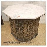 Lot 560 VINTAGE brass octagon marble top mid century table