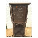 Lot 561 ANTIQUE carved gothic 1 door silver chest with key - nice size