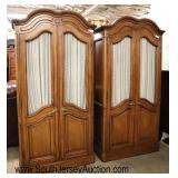 Lot 562 PAIR of Mount Airy country French style 2 door fitted armoires with wire mesh doors
