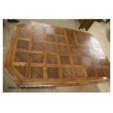 """Lot 565 Thomasville Furniture country oak parquet top dining room table with (2) 16"""" leaves"""
