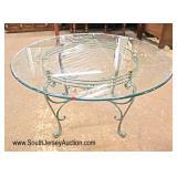 "Lot 566 Decorator iron base 54"" glass top breakfast table"