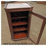 Lot 568 Contemporary marble top serving tray wine cabinet with wire mesh doors