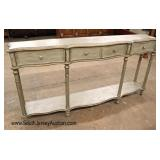Lot 569 Paint decorated distressed 3 drawer console - Nice Size