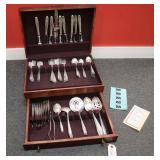 56pc Wallace sterling silver flatware in mahogany case box approx. 58ozt, knives are calculated using .75ozt with paperwork