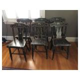 set of 6 stenciled chairs