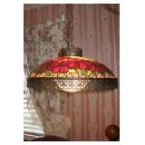 Very Pretty Vintage Stained Glass Hanging Swag Lamp