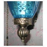 Vintage Mid Century Modern Retro Swag Lamp Hanging Light Blue Glass Large
