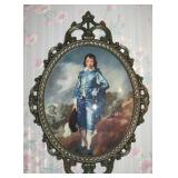 Vintage Italian Wall Art Print The Popular Little Blue Boy Oval Shaped Convex Glass