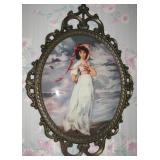 Vintage Italian Wall Art Print The Pinkie Girl Oval Shaped Convex Glass