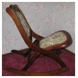 Rare Old Antique Folding Rocking Chair in Pristine Condition
