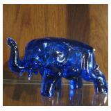 Vintage Cobalt Blue Glass Elephant Candy Dish