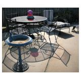 Wrought Iron 5 Piece Patio Dining Set - Wrought Iron Chaise Lounge