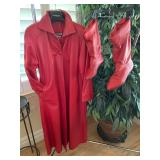 Italian Leather Coat & Matching Size 10 Boots