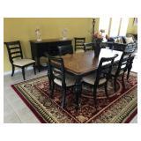 """Dining Table & 8 chairs, 42"""" W x 68"""" L plus 18"""" leaf (86"""" L w/ leaf installed) x 30"""" H"""