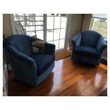 "Coastal Blue Velvet Swiveling/Rocking Club Chairs, each is 35"" wide x 36"" deep"