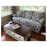 """Blue & White Sofa, 80"""" L x 38"""" D x 21"""" H to seat, 38"""" H to back"""