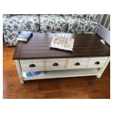 """Distressed Natural Wood-Top Coffee Table, 48"""" L x 24"""" W x 18.5"""" H"""