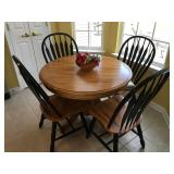 """Kitchen Table & 4 Chairs with Pop-Up Leaf, 42"""" across plus 15"""" leaf (57"""" long x 42"""" wide w/ leaf in"""