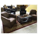 "Dark Brown Leather Club Chairs (2), 29"" W x 34"" D ; Light Brown Leather Club Chairs (3): 34"" W x 36"""