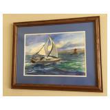 "June Sullivan signed original watercolor, frame measures 27"" wide x 21"" high"