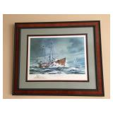 "R.C. Moore ""The Lightship Barnegat"" signed & numbered, frame measures 37"" wide x 31"" high"
