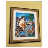 "Itzchak Tarkay ""Normandy Cafe"" Hand-Embellished AP w/ COA, frame measures 24"" wide x 27"" high"