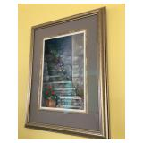 "Signed Original Pastel ""Tuscany Steps"" by Marie O'Hara, Barnegat NJ, frame measures 26.5"" H x 20"" W"