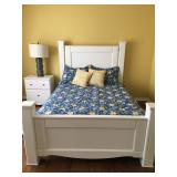 """Queen-Sized Bed (mattress not included) and Single White Nightstand, 24.5"""" W x 16"""" D x 28.5"""" H"""