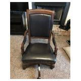 Executive Seating Executive Swivel Tilt Chair, beautiful espresso wood carved arms.